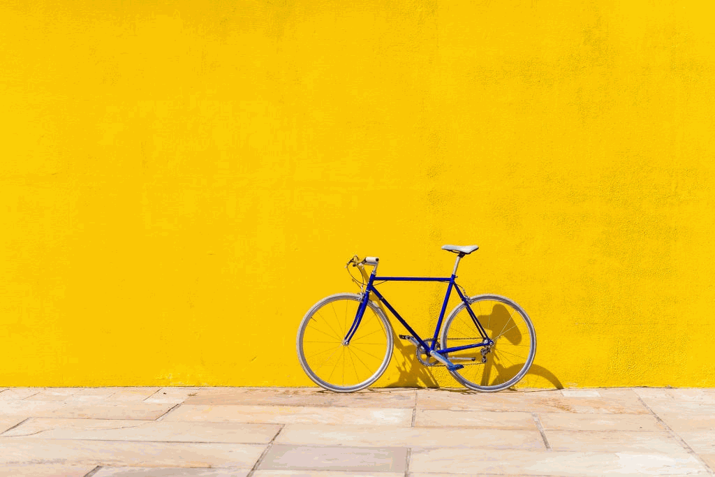 road bike parked on a wall