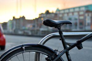 a parked Schwinn bike