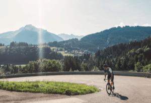 bike rider on hairpin