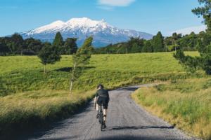 cyclist with a gravel bike near mount ruapehu