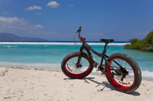 fat bike on the shore line